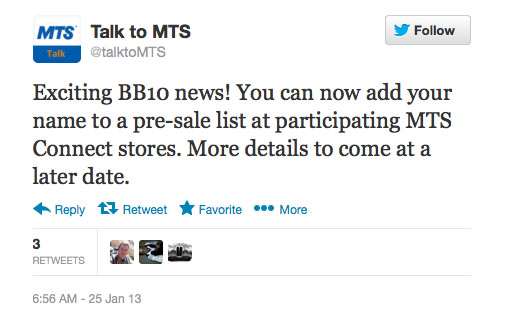 MTS now taking BlackBerry 10 preorders