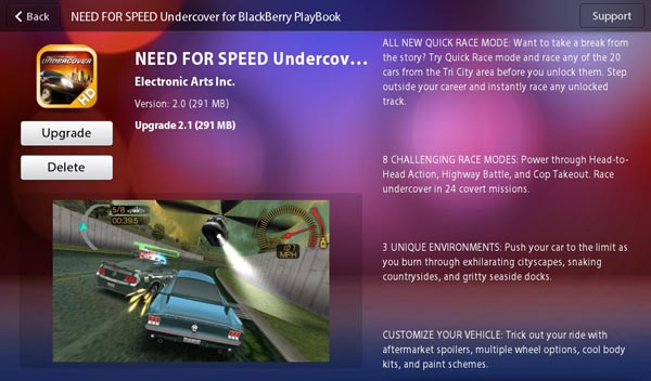 Need for Speed: Undercover for the BlackBerry PlayBook updated to v2.1.0