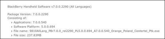 Official OS 7.0.0.540 for the BlackBerry Torch 9810 from Orange Poland Centertel Ptk
