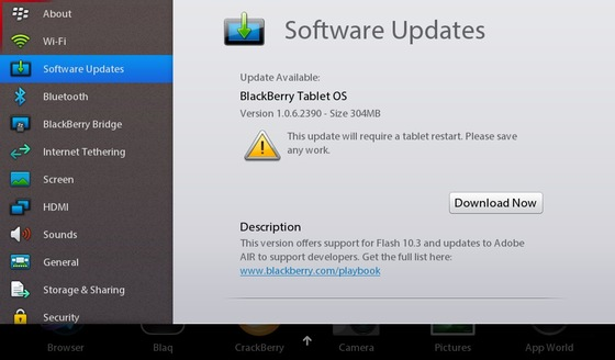 BlackBerry Tablet OS v1.0.6 now available