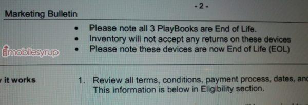 BlackBerry PlayBook EOL