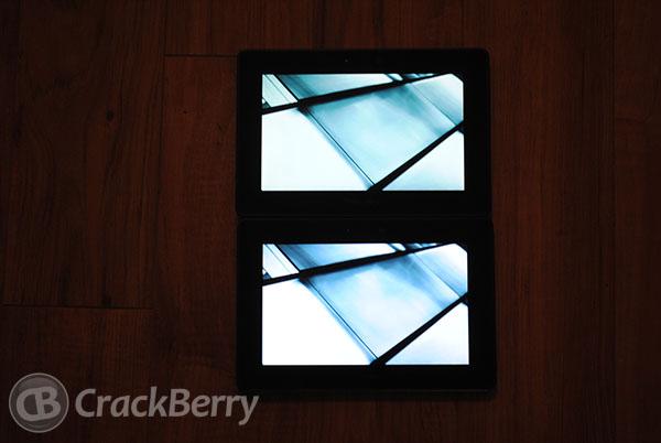 4G LTE PlayBook on top. image intentionally dark.