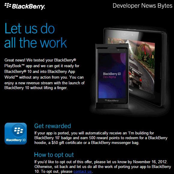 RIM porting App World PlayBook apps to the BlackBerry 10 platform for developers