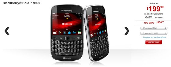 Rogers lowers pricing on the BlackBerry Bold 9900 to $199
