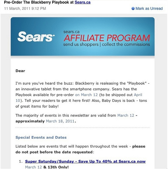 Sears sending out PlayBook pre-order details to affiliates, ship date 4/10
