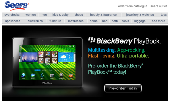 Sears now taking pre-orders for the BlackBerry PlayBook