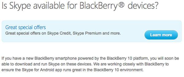 Skype for BlackBerry 10