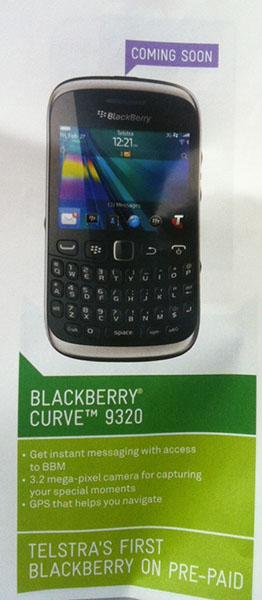 Telstra now offering prepaid BIS plans, BlackBerry Curve 9320 arriving soon