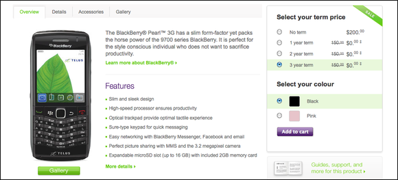 TELUS now offering BlackBerry Pearl 3G's for $200, no contract