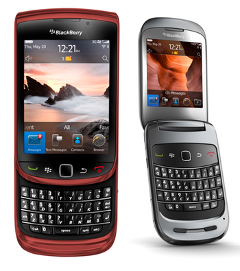 BlackBerry Style 9670 and red BlackBerry Torch 9800 headed to Bell