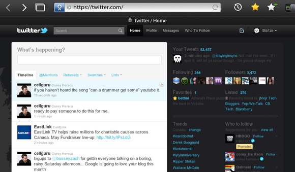 Twitter Full site on the BlackBerry PlayBook