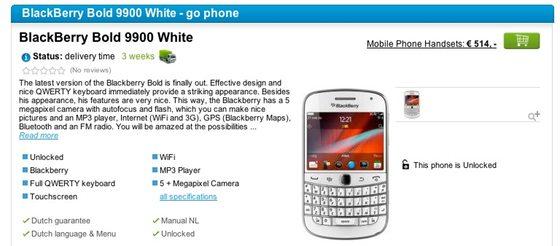 White BlackBerry Bold 9900