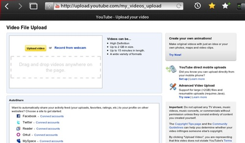 BlackBerry PlayBook YouTube Uploads