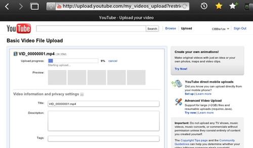 PlayBook YouTube Options