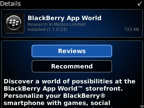 BlackBerry App World Version 1.1.0.23 Released!