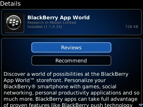 BlackBerry App World Updated To Version 1.1.0.33