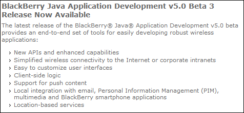BlackBerry Java Application Development v5.0 Beta 3 Released