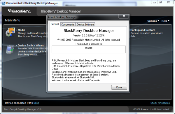 BlackBerry Desktop Manager 5.0.0.8 Leaked!