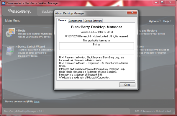 BlackBerry Desktop Manager Updated To Version 5.0.1.37