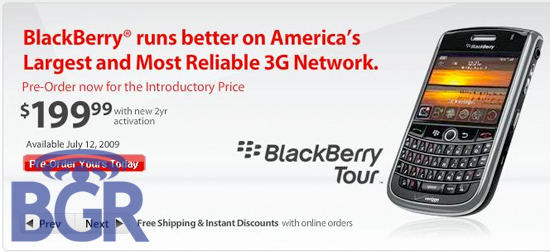 BlackBerry Tour Verizon Release Date!