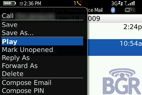 Visual Voicemail for BlackBerry Bold