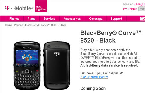 BlackBerry Curve 8520 Now On T-Mobile Website