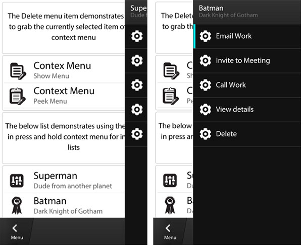 BlackBerry 10 Context Menu