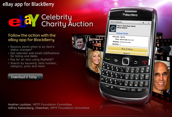 RIM & eBay team up to promote celebrity auction