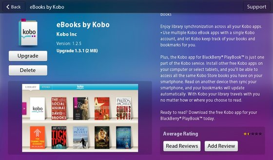 eBooks by Kobo for the BlackBerry PlayBook updated to v1.3.1