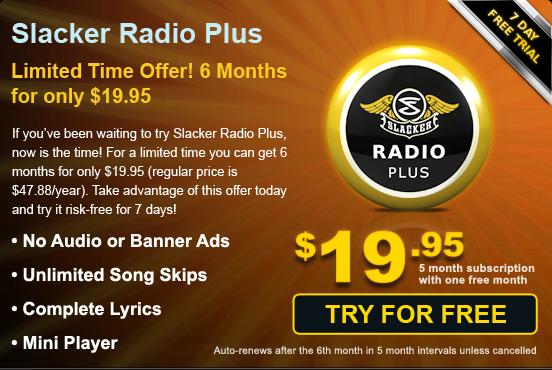 Slacker Radio Plus On Sale!