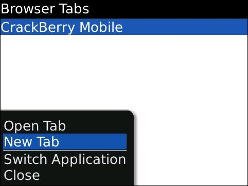 Creating A New Tab With BlackBerry Browser!