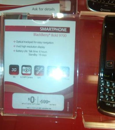 Another price drop for the BlackBerry Bold 9700 on Rogers?!?