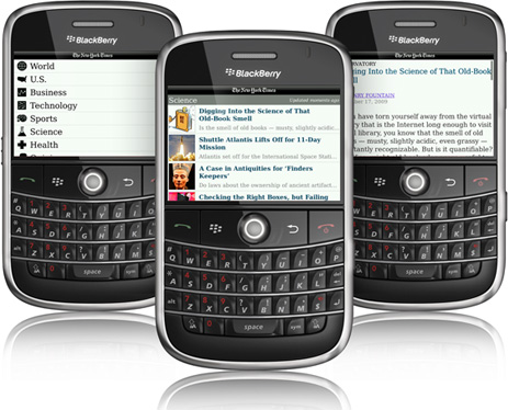 NY Times Releases Free BlackBerry Application