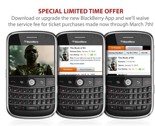 Fandango BlackBerry App Updated And Offering Special Deals