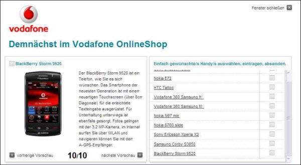 BlackBerry Storm 9520 Now Listed As Coming Soon On Vodafone Germany Website