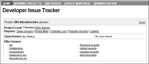 BlackBerry Developer Issue Tracker