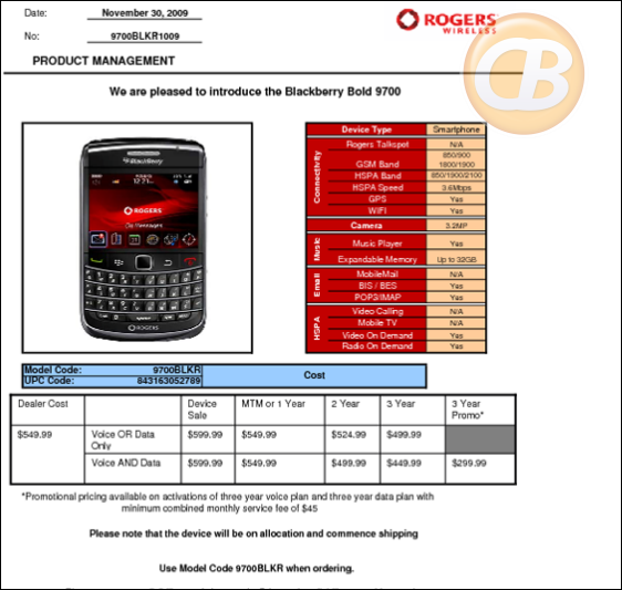 Rogers Bold 9700