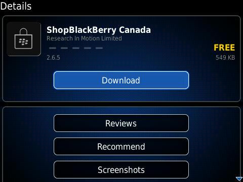 RIM Adds ShopBlackBerry Store Application To BlackBerry App World
