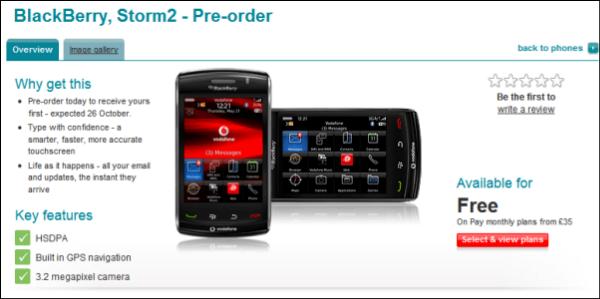 BlackBerry Storm 2 Appears On Vodafone UK For Pre Order