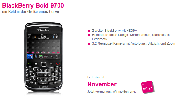 T-Mobile Germany Displays BlackBerry Bold 9700 Online Coming In November