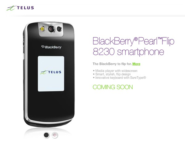 Telus' BlackBerry Pearl Flip 8230 Set To Launch!