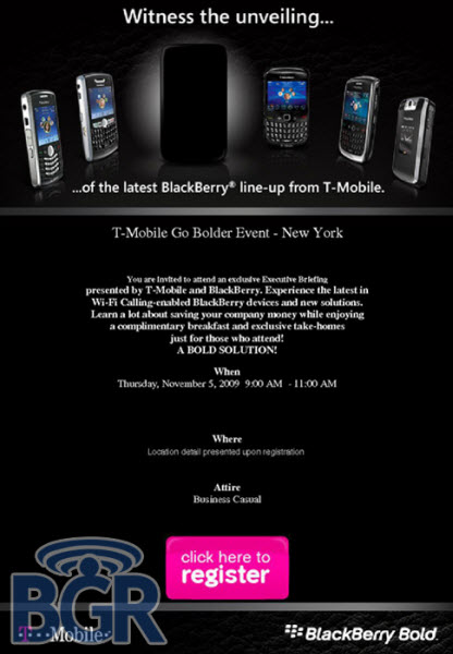 T-Mobile Invites Go Out For BlackBerry Bold 9700 Launch