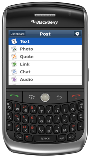 Official BlackBerry Tumblr Application Now Available
