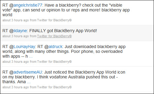 Rumored Twitter For BlackBerry by Research In Motion Makes First Tweet?!?
