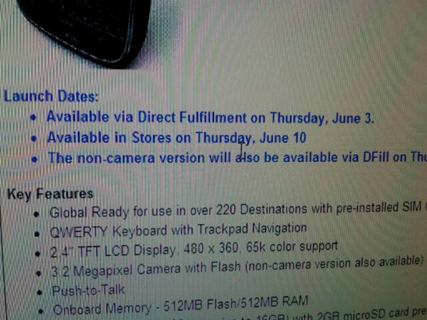 Verizon BlackBerry Bold 9650 Available For Direct Fufillment June 3rd, In Stores June 10th?