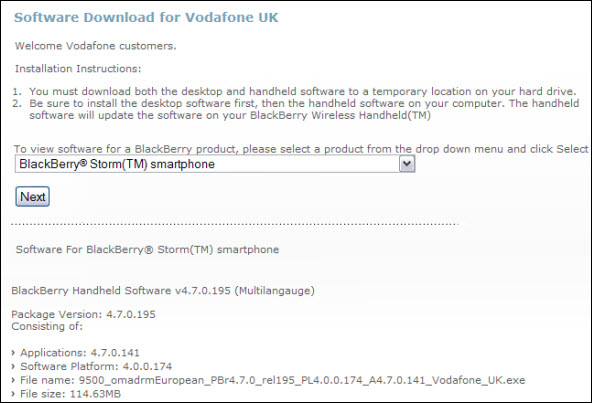 Vodafone Launches .141 For BlackBerry Storm 9500
