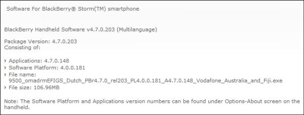 9500 Storm OS 4.7.0.148 Officially Released by Vodafone Australia