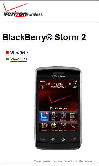 Signs Of The BlackBerry Storm 2 Appear On Verizon Website