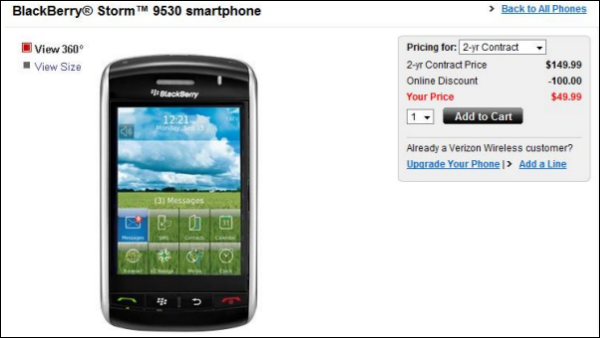 BlackBerry Storm Prices Reduced To $49.99 On Verizon!