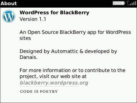 WordPress For BlackBerry Updates To v1.1
